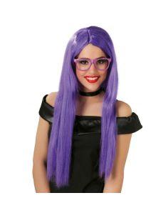 Peluca Melena Larga Lila Tienda de disfraces online - venta disfraces
