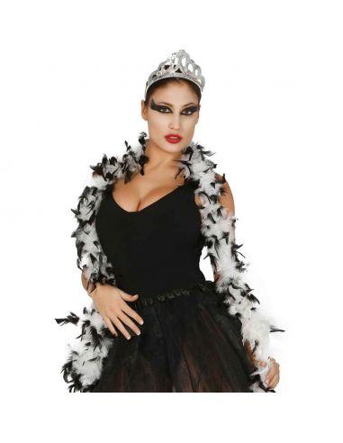 Boa Marabú bicolor blanca/negra 40gr Tienda de disfraces online - venta disfraces