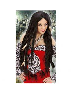 Peluca Trenzas Largas Negra Tienda de disfraces online - venta disfraces
