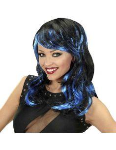 Peluca Rock con Mechas Azules Tienda de disfraces online - venta disfraces