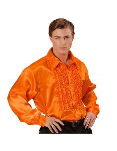 Camisa Raso con chorreras en Naranja XL Tienda de disfraces online - venta disfraces