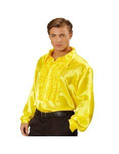 Camisa Raso con chorreras en Amarilla XL Tienda de disfraces online - venta disfraces