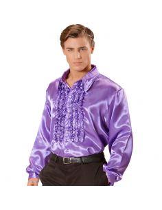 Camisa Raso con chorreras en Violeta XL Tienda de disfraces online - venta disfraces