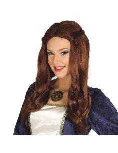 Peluca Medieval Castaña para mujer Tienda de disfraces online - venta disfraces