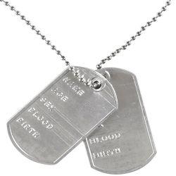 Chapa de Identificación Militar con Cadena Tienda de disfraces online - venta disfraces