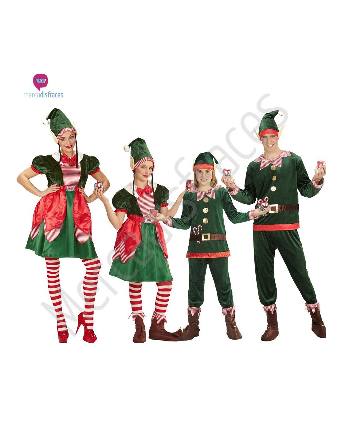 Disfraces grupos elfos navide os tienda de disfraces online - Disfraces duendes navidenos ...