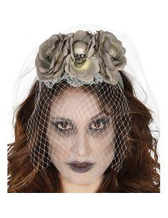 Diadema Calaveras flores grises Tienda de disfraces online - venta disfraces