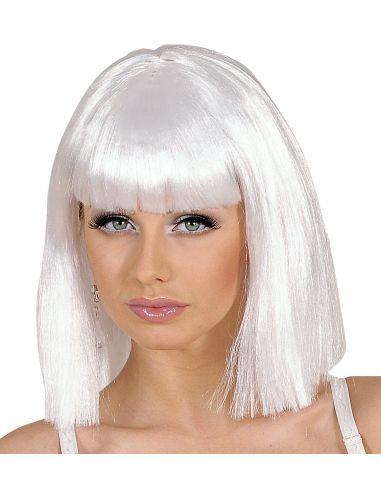 Peluca Reina del Pop Blanca con Flequillo Tienda de disfraces online - venta disfraces
