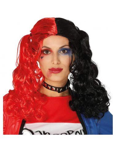 Peluca Coletas Roja y Negra Tienda de disfraces online - venta disfraces