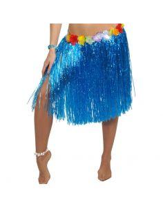 Falda Hawaiana Flores Azul 55 cm Tienda de disfraces online - venta disfraces