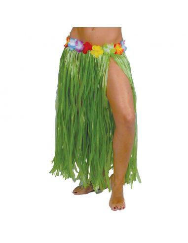 08b418848 Falda Hawaiana Flores Verde 75cm
