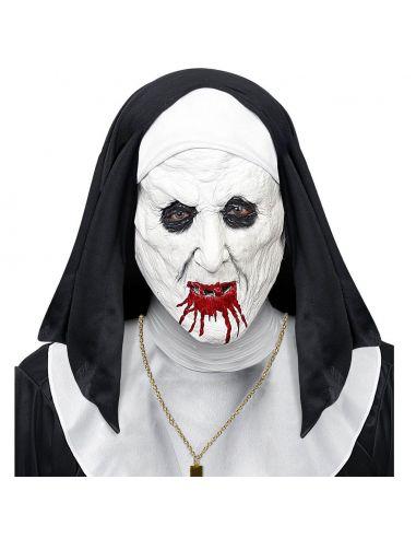 Mascara Media Cara Monja Horror con Gorro