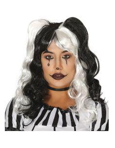 Peluca Melena Negra y Blanca Tienda de disfraces online - venta disfraces