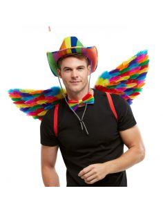Alas de plumas en multicolor Tienda de disfraces online - venta disfraces