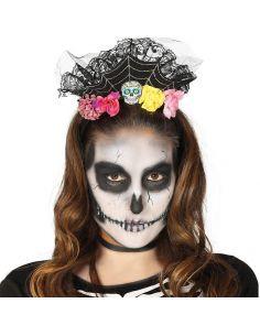 Diadema de Flores con Calaveras Tienda de disfraces online - venta disfraces