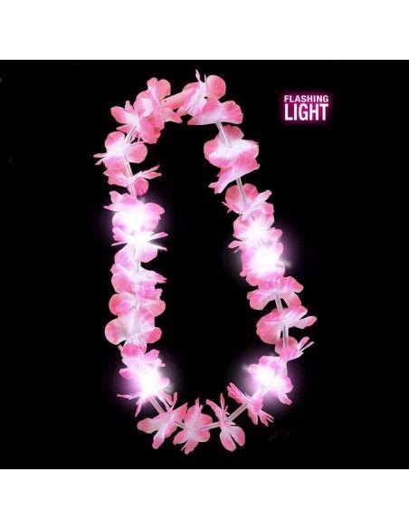 Collar Hawaiano Rosa con Luz Tienda de disfraces online - venta disfraces