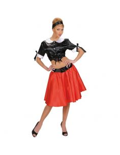 Camisa Negra Corta Años 50 en Satén Tienda de disfraces online - venta disfraces
