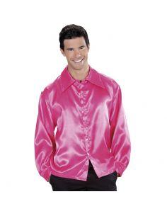 Camisa Años 70 Rosa en raso para adulto Tienda de disfraces online - venta disfraces