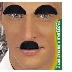 Cejas y Bigote Chaplin Negro