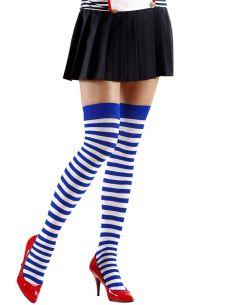 Medias a Rayas Blancas y Azul Talla XL Tienda de disfraces online - venta disfraces