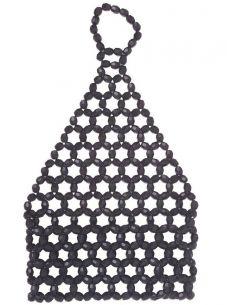 Mitán Elástico Corto con Pedrería en Negro Tienda de disfraces online - venta disfraces