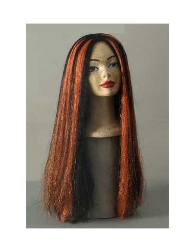 Peluca Melena Larga Negra Mechas Naranjas Tienda de disfraces online - venta disfraces
