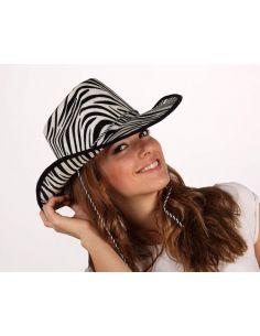 Sombrero Vaquero de terciopelo Cebra Blanco y Negro Tienda de disfraces online - venta disfraces