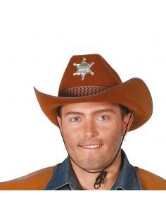 Sombrero Vaquero de Sheriff en Marrón Tienda de disfraces online - venta disfraces