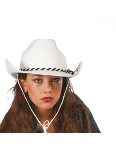 Sombrero Vaquero o Cowboy de Fieltro Blanco Tienda de disfraces online - venta disfraces