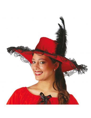 Pamela Terciopelo Roja con Pluma Tienda de disfraces online - venta disfraces