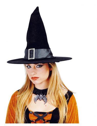 Sombrero Bruja Terciopelo con Hebilla Tienda de disfraces online - venta disfraces
