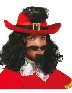 Sombrero Mosquetero Fieltro Rojo adulto Tienda de disfraces online - venta disfraces