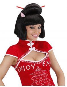 Peluca Geisha con Flor y Palillos Tienda de disfraces online - venta disfraces